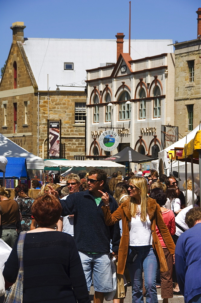 Visitors at Salamanca Street Market, Hobart, Tasmania, Australia, Pacific