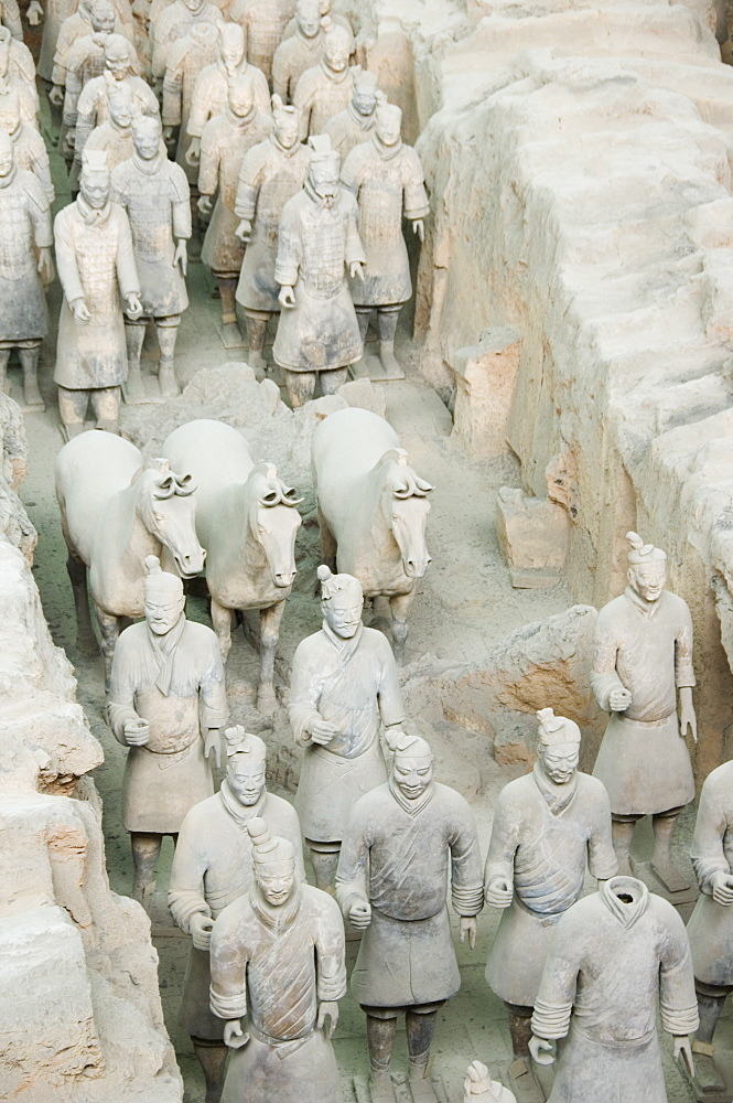 Pit 1 of Mausoleum of the First Qin Emperor housed in The Museum of the Terracotta Warriors, opened in 1979, near Xian City, Shaanxi Province, China, Asia
