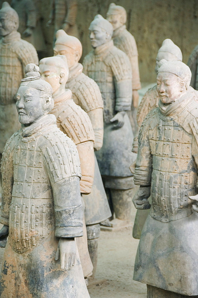 Pit 1, Mausoleum of the first Qin Emperor housed in The Museum of the Terracotta Warriors opened in 1979 near Xian City, Shaanxi Province, China, Asia