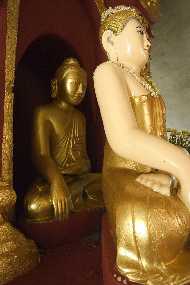 Buddha statues at Hsinbyume (Myatheindan) Pagoda, Mingun, Mandalay district, Myanmar (Burma), Asia