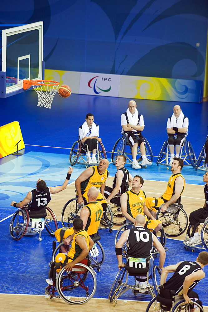 South Africa versus Germany wheelchair basketball match during the 2008 Paralympic Games, Beijing, China, Asia - 733-3134