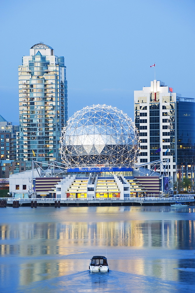 Telus Science World and a boat on False Creek, Vancouver, British Columbia, Canada, North America