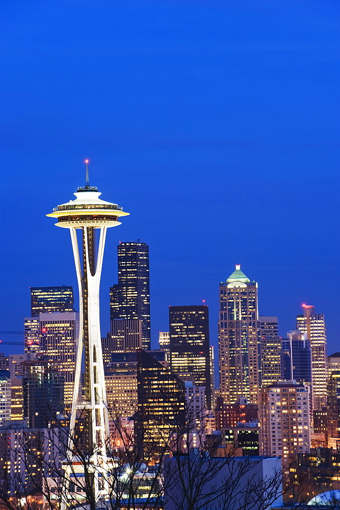 Downtown buildings and the Space Needle, Seattle, Washington State, United States of America, North America