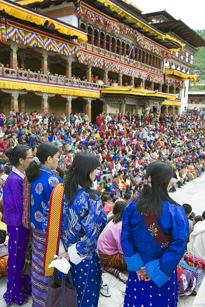 Spectators at Autumn Tsechu (festival) at Trashi Chhoe Dzong, Thimpu, Bhutan, Asia