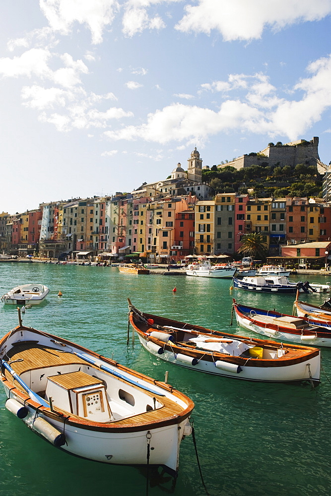 Waterfront pastel coloured houses, harbour at Porto Venere, Cinque Terre, UNESCO World Heritage Site, Liguria, Italy, Europe