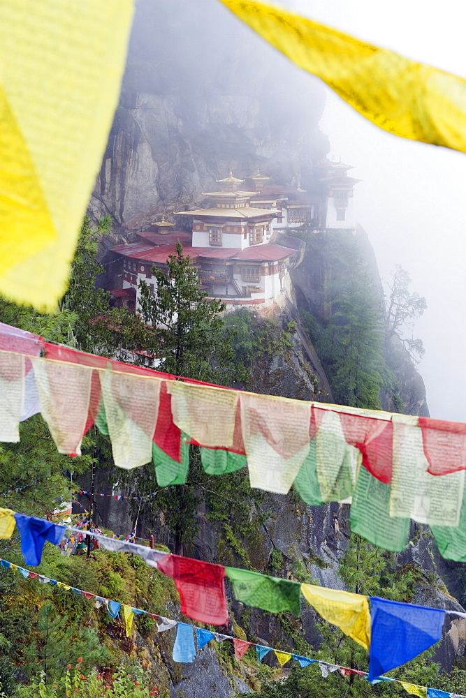Prayer flags at the Tigers Nest (Taktsang Goemba), Paro Valley, Bhutan, Asia
