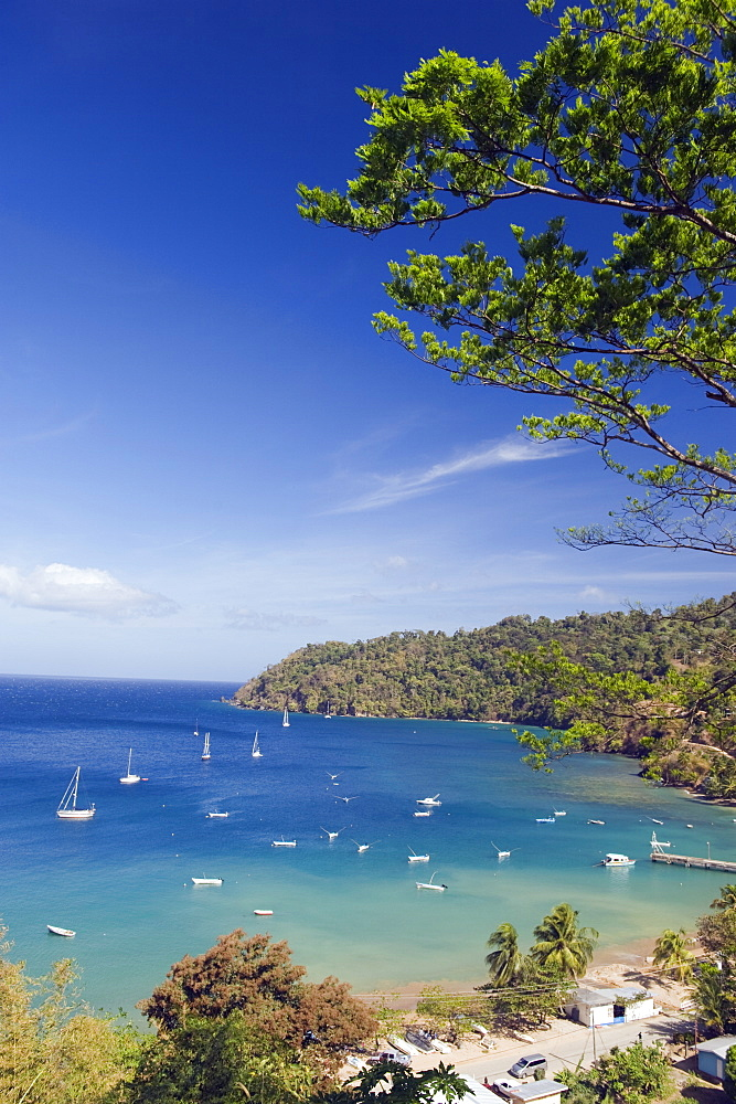 Boats in Pirate Bay, Charlotteville, Tobago, Trinidad and Tobago, West Indies, Caribbean, Central America