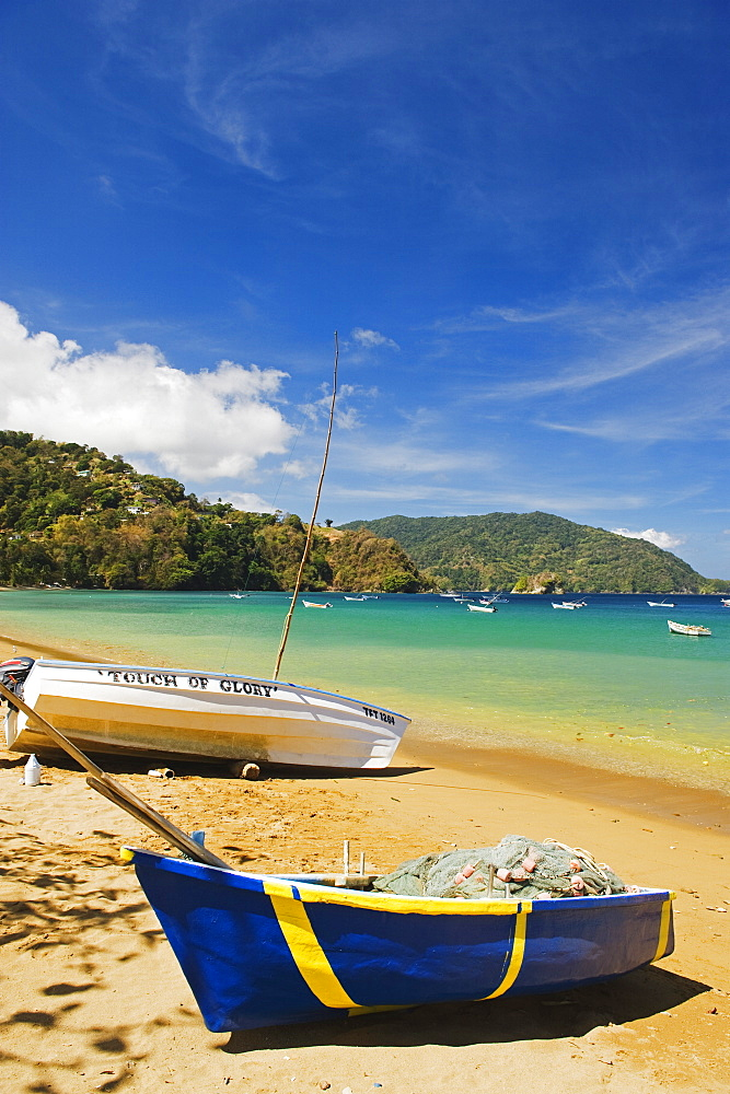 Boats on the beach in Pirate Bay, Charlotteville, Tobago, Trinidad and Tobago, West Indies, Caribbean, Central America