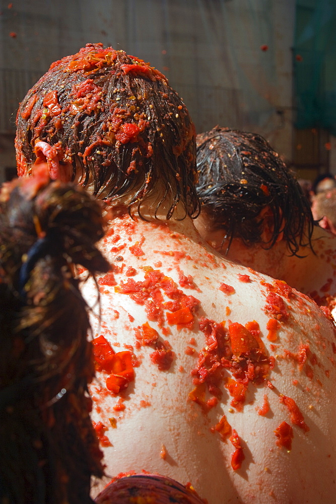 World's largest food fight, La Tomatina, tomato throwing festival, Bunol, Valencia province, Spain, Europe