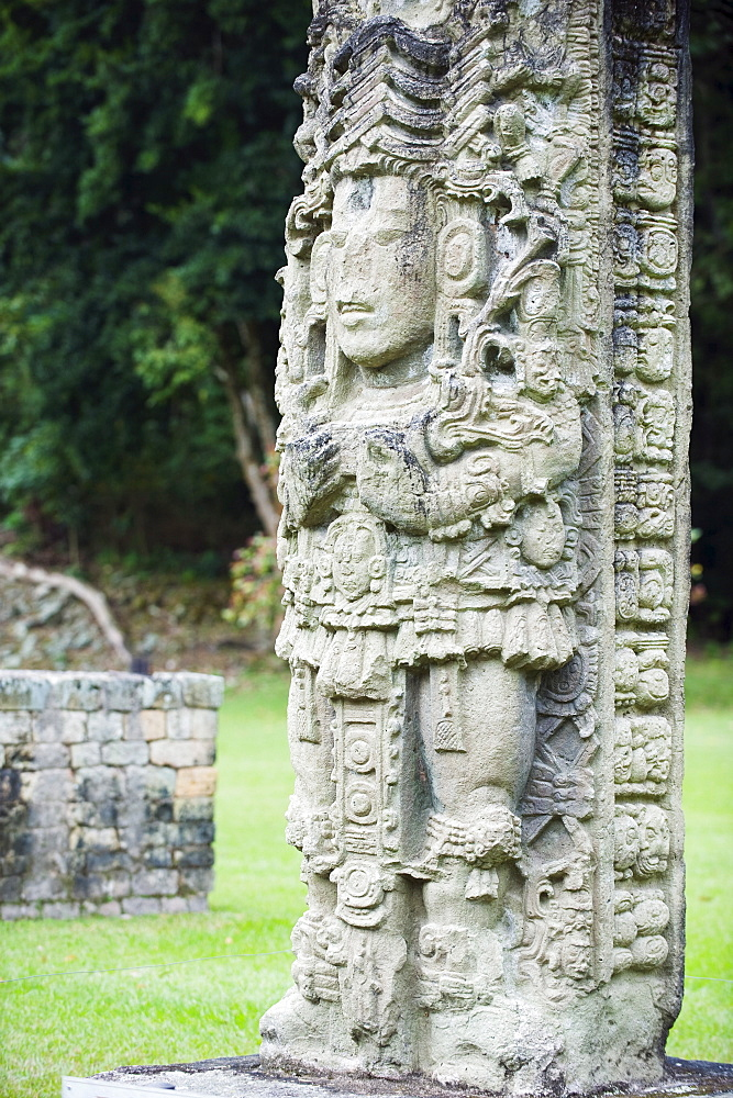 Stelae A dating from 731 AD depicting Rabbit 18, Copan Ruins, Mayan archaeological site, UNESCO World Heritage Site, Honduras, Central America