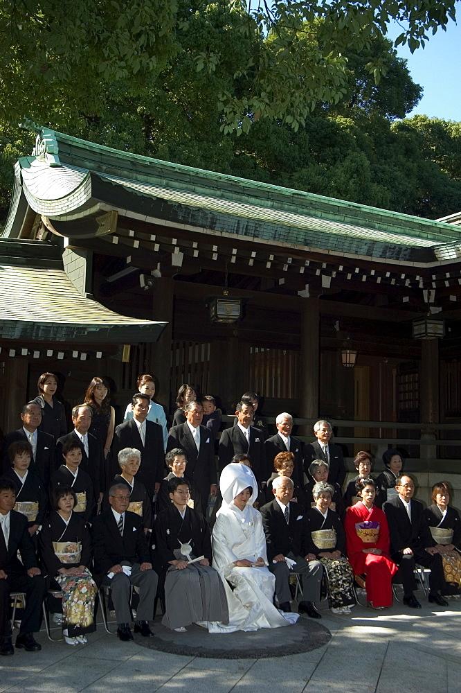 Wedding ceremony, Meiji Shrine, Harajuku, Tokyo, Honshu, Japan, Asia