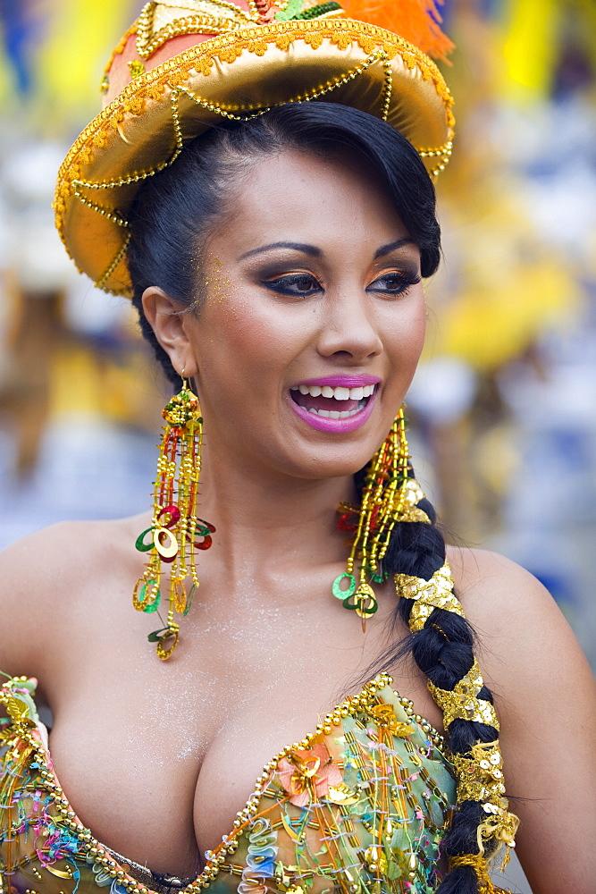 Woman in parade at Oruro Carnival, Oruro, Bolivia, South America