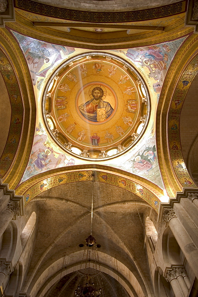 Ceiling painting of Jesus Christ, Church of the Holy Sepulchre, Old Walled City, Jerusalem, Israel, Middle East