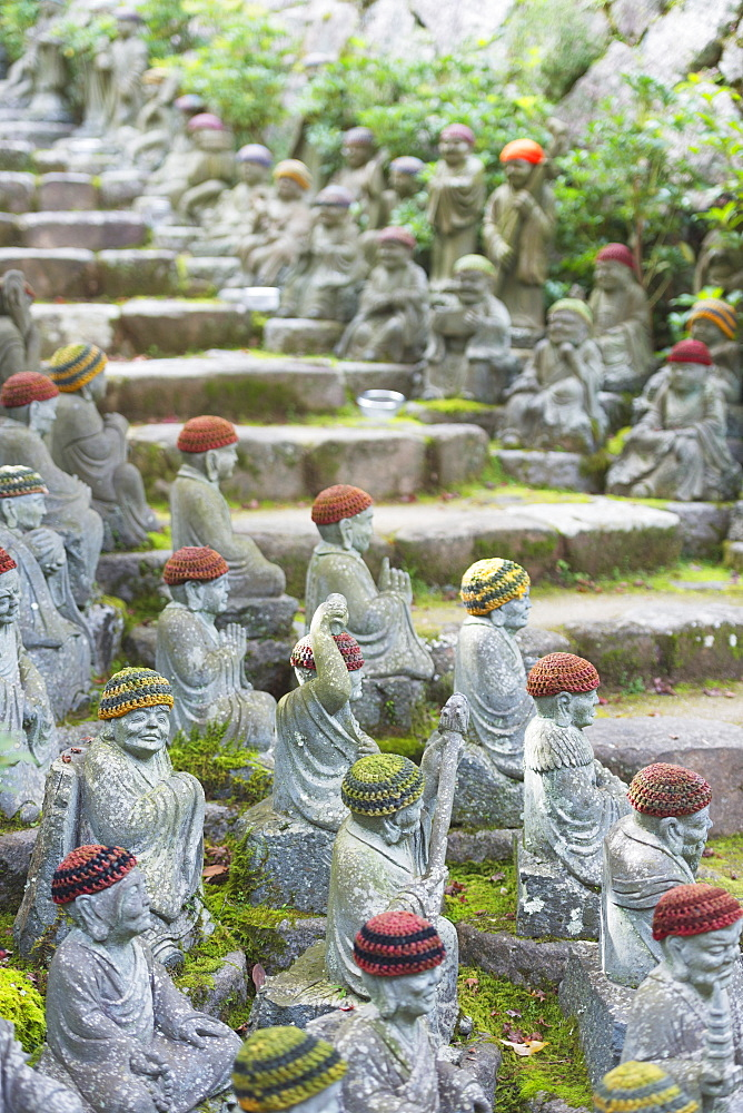Statues in Daisho-in Buddhist temple, Miyajima Island, Hiroshima Prefecture, Honshu, Japan, Asia