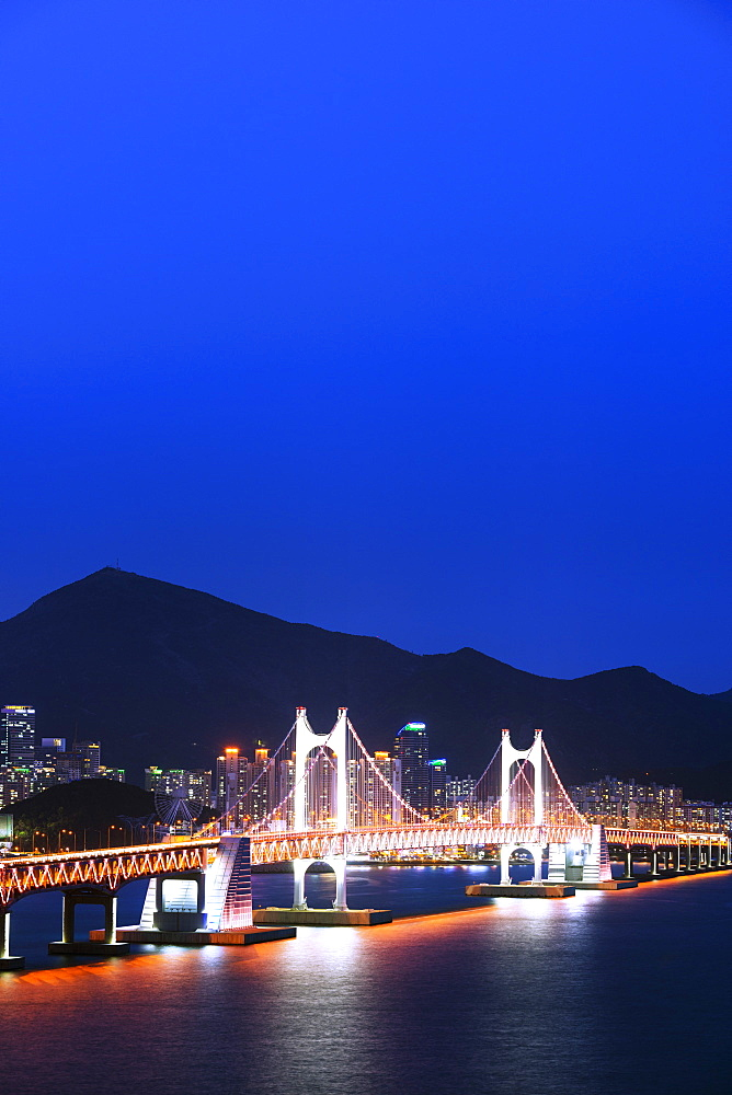 City skyline and Gwangang bridge, Busan, South Korea, Asia