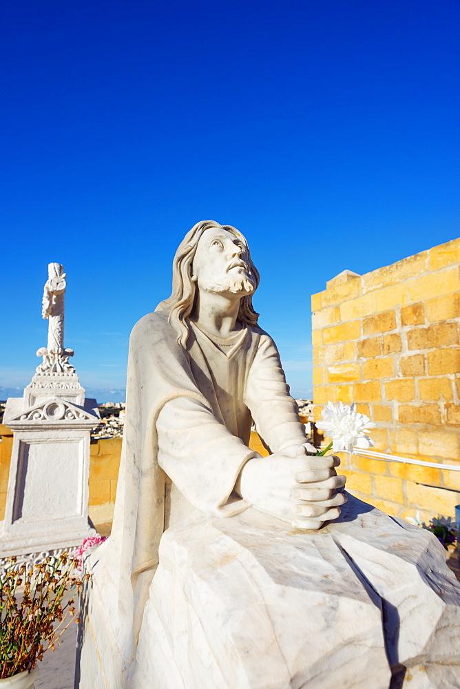 Cemetery head stone statue, Victoria (Rabat), Gozo Island, Malta, Mediterranean, Europe