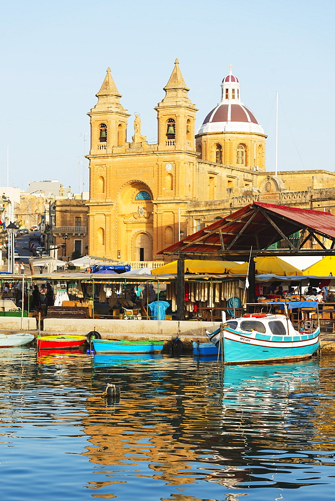 Our Lady of Pompeii Church (Marsaxlokk Church), Marsaxlokk Harbour, Malta, Mediterranean, Europe