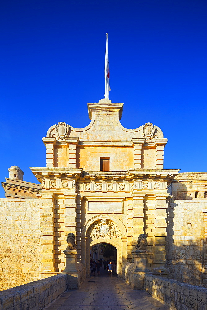 City gate, Mdina, Malta, Mediterranean, Europe