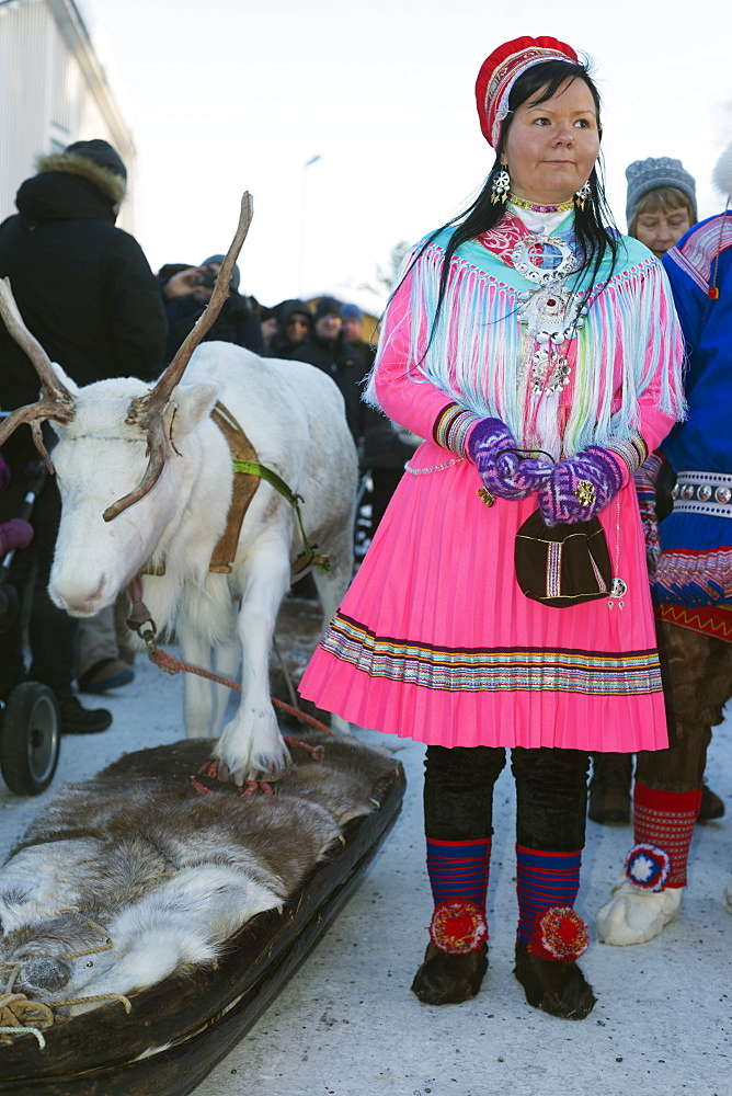 Ethnic Sami people at winter festival, Jokkmokk, Lapland, Arctic Circle, Sweden, Scandinavia, Europe