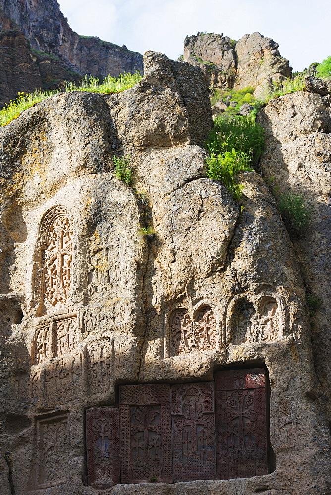 Khachkar crosses, Geghard Monastery, UNESCO World Heritage Site, Kotayk Province, Armenia, Caucasus, Central Asia, Asia
