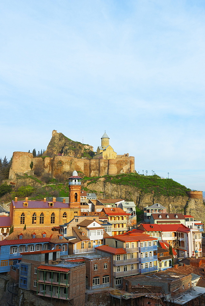 Old town and St. Nicholas church on top of Narikala Fortress, Tbilisi, Georgia, Caucasus, Central Asia, Asia