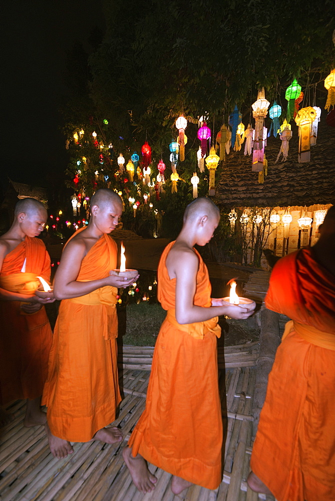 Monks celebrating Loi Kratong festival, Wat Phan Tao Temple, Chiang Mai, Thailand, Southeast Asia, Asia