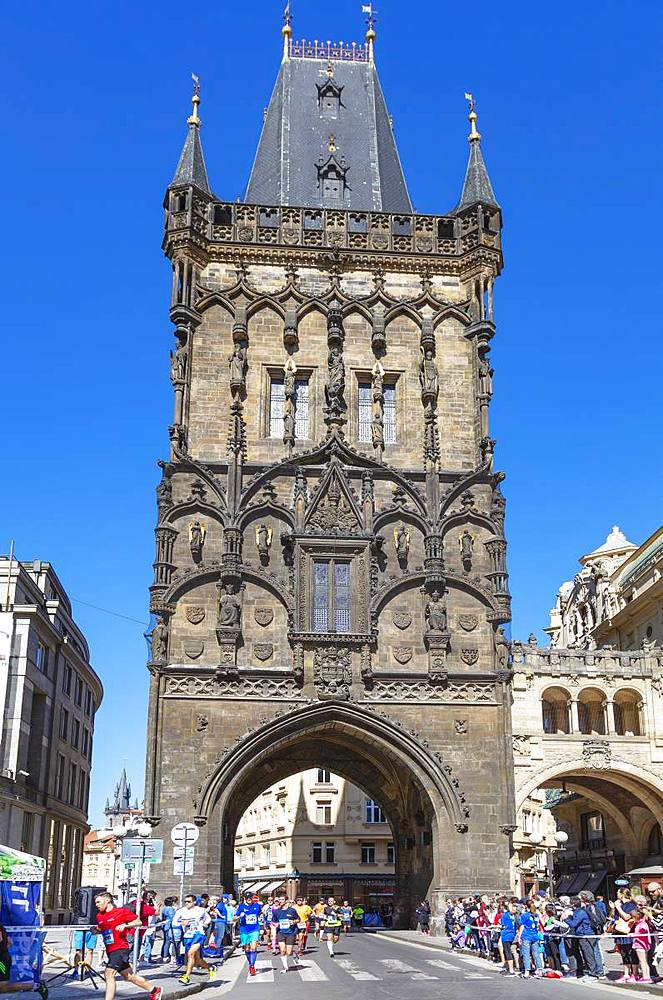 Europe, Czech Republic, Bohemia, Prague, Unesco site, Prague marathon running through the Powder Tower