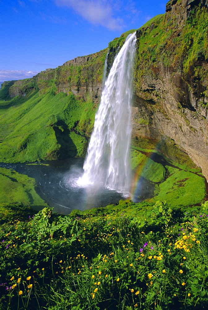 Seljalandsfoss waterfall in the south of the island, Iceland