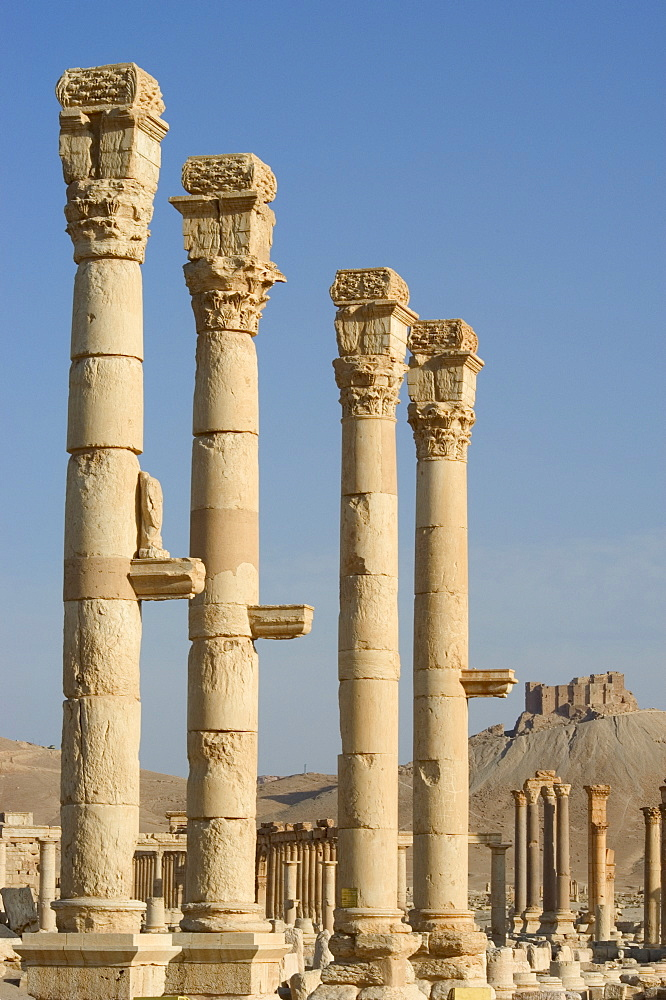 Archaeological ruins, and Qala'at ibn Maan castle in distance, Palmyra, UNESCO World Heritage Site, Syria, Middle East