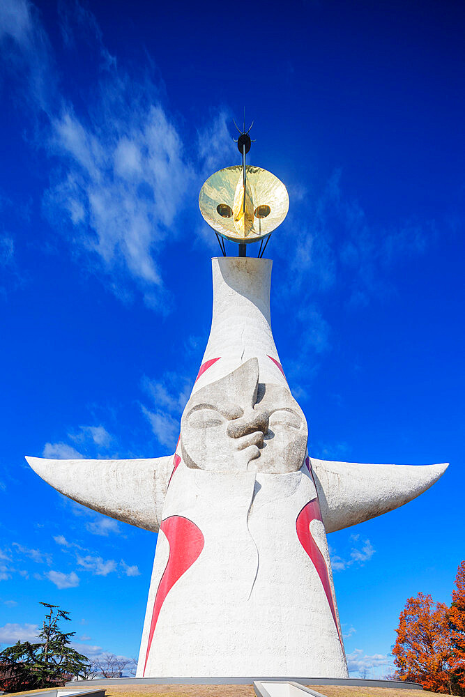 Tower of the Sun by artist Taro Okamoto, 1970 Expo site, Banpaku Park, Osaka, Kansai, Japan, Asia