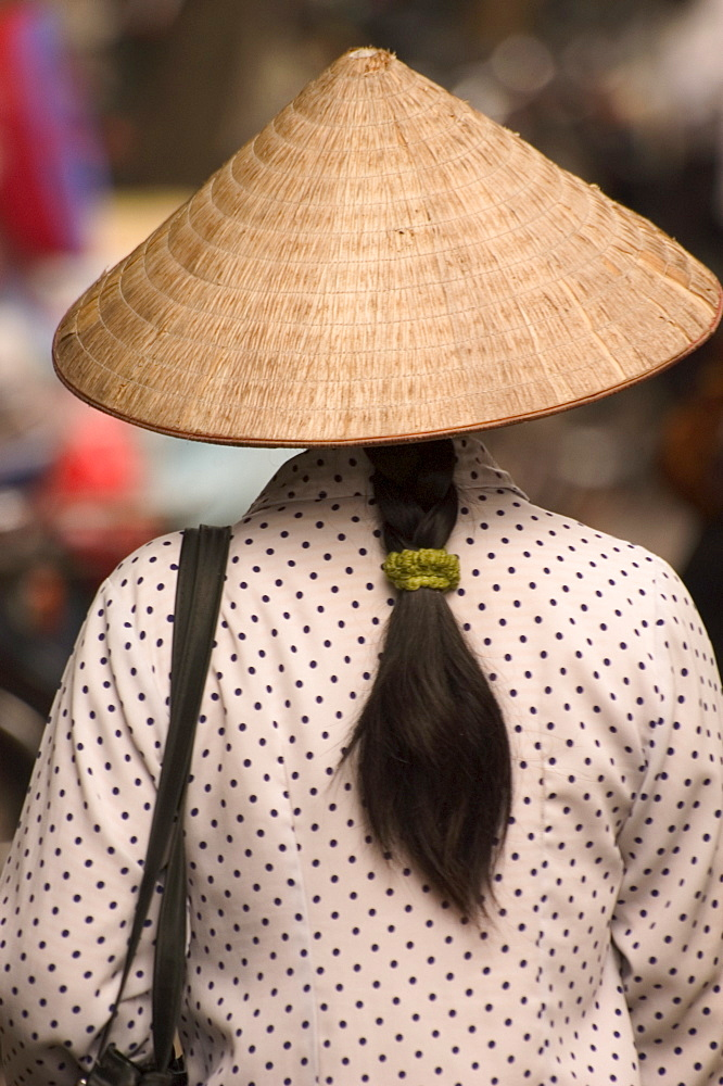 Long hair, lady wearing conical hat, Hanoi, Northern Vietnam, Southeast Asia, Asia