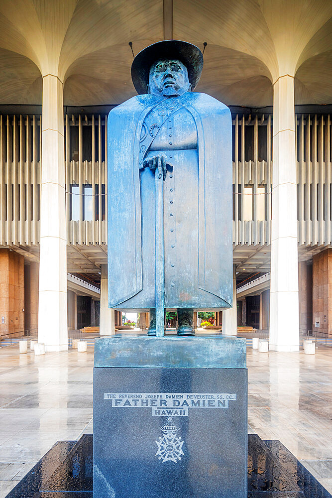 Statue of Father Damien sainted for his work at Kalaupapa leper colony, Oahu Island, Hawaii, United States of America, North America