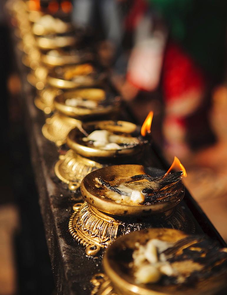 Butter lamps, Kathmandu, Nepal, Asia