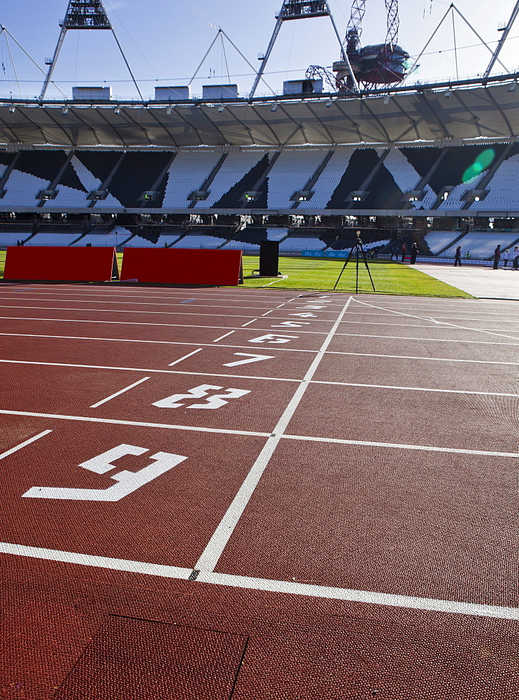 The finishing line of the athletics track inside The Olympic Stadium, London, England, United Kingdom, Europe - 734-233