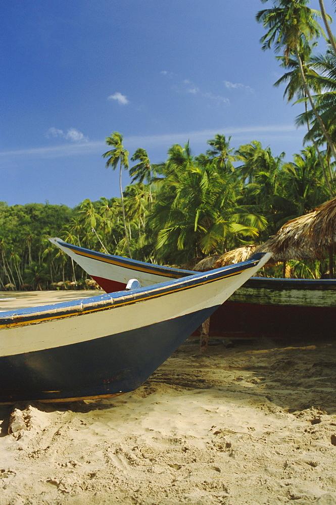 Traditional fishing boats, Playa Medina, Paria Peninsula, Venezuela, South America