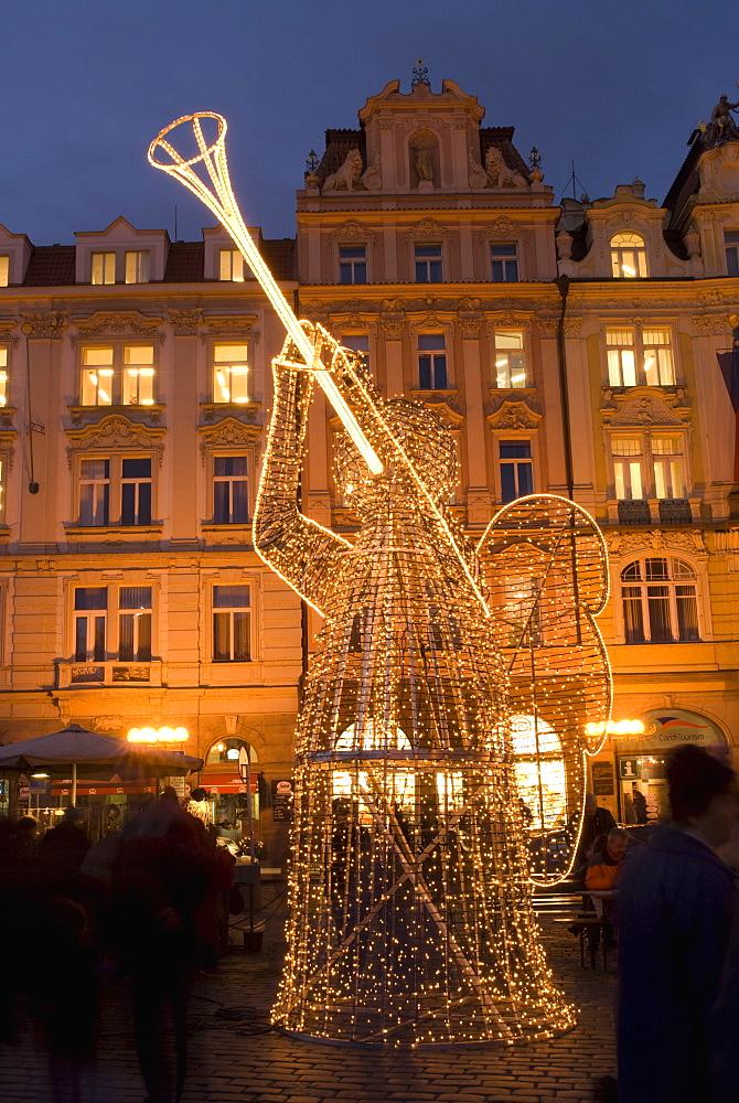 Christmas market decorations at Staromestske (Old Town Square), Stare Mesto, UNESCO World Heritage Site, Prague, Czech Republic, Europe