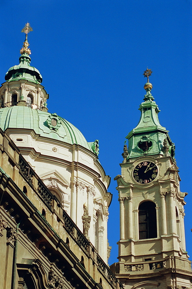 Cupola and tower of the Baroque St. Nicholas Church, Mala Strana, Prague, Czech Republic, Europe