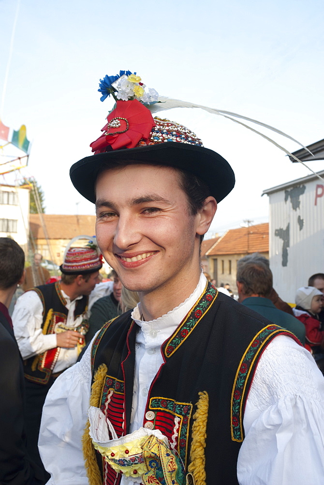 Man wearing Zdanice folk dress during Feast with Law festival at village of Zdanice, Brnensko, Czech Republic, Europe - 737-605