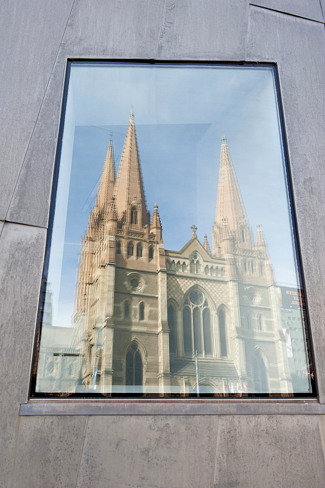 Reflection in window of St. Pauls Cathedral, Melbourne, Victoria, Australia, Pacific - 737-620