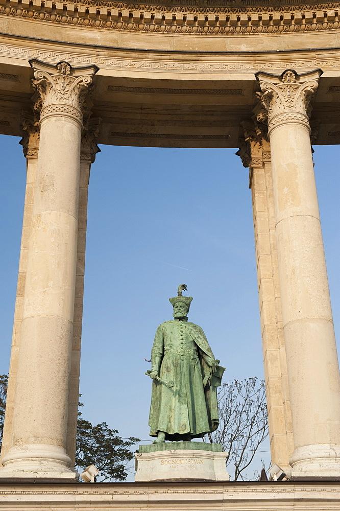 Statue of Istvan Bocskai , Millennium Monument, Hosok Tere (Heroes Square), Budapest, Hungary, Europe - 737-643