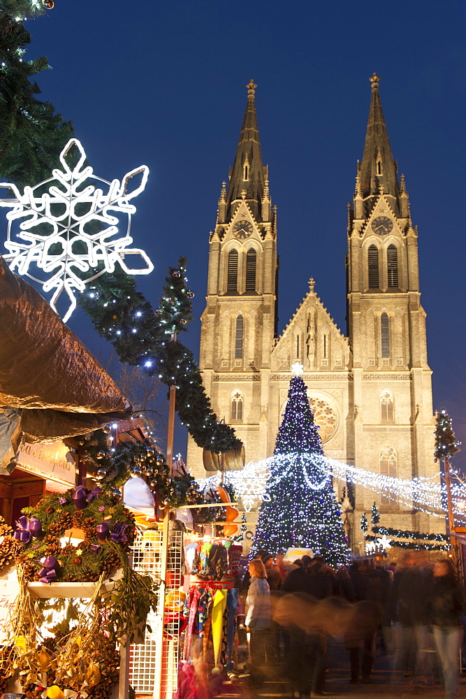 Christmas market and neo-gothic Church of St. Ludmila, Mir Square, Prague, Czech Republic, Europe  - 737-663