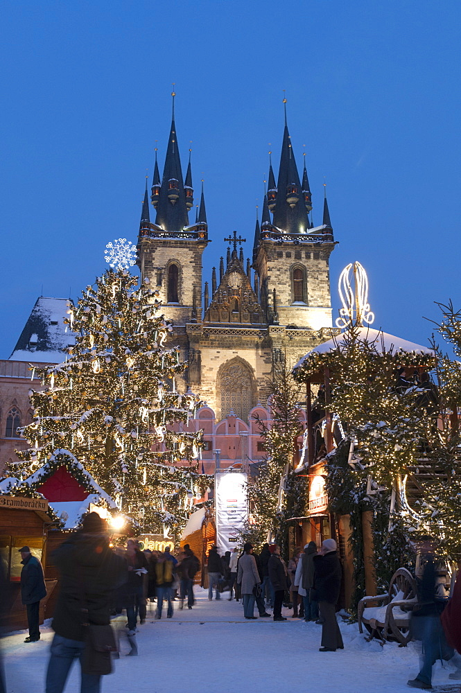 Snow-covered Christmas Market and Tyn Church, Old Town Square, Prague, Czech Republic, Europe  - 737-670