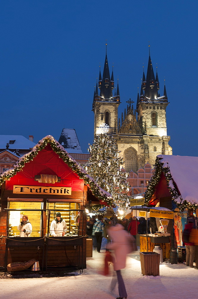 Snow-covered Christmas Market and Tyn Church, Old Town Square, Prague, Czech Republic, Europe - 737-671