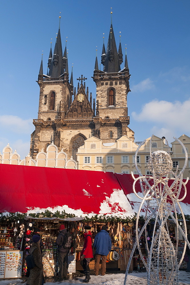 Snow-covered Christmas Market and Tyn Church, Old Town Square, Prague, Czech Republic, Europe  - 737-680