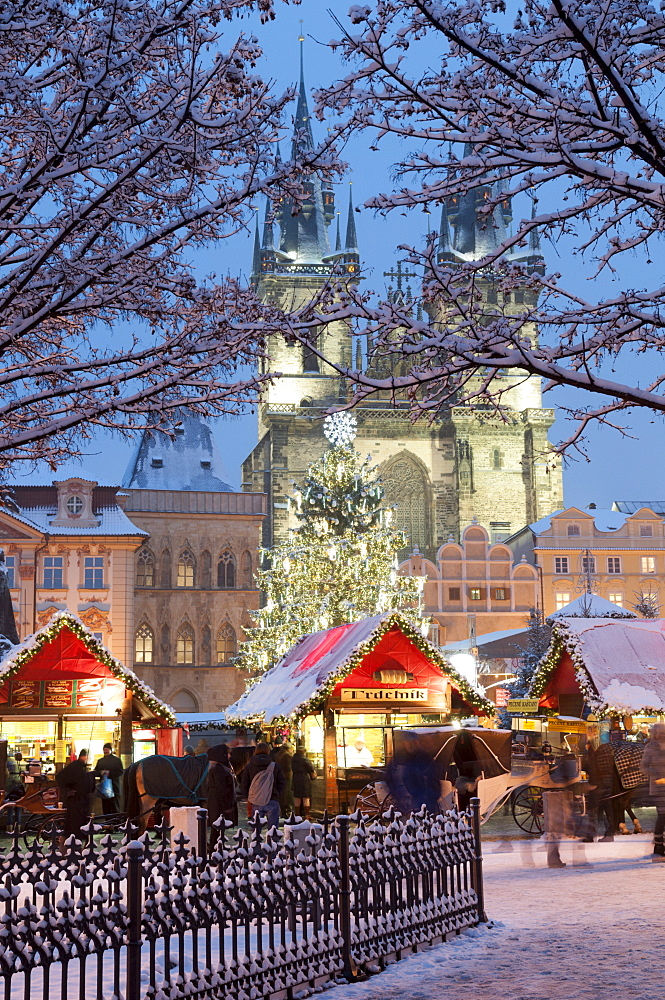 Snow-covered Christmas Market and Tyn Church, Old Town Square, Prague, Czech Republic, Europe - 737-681