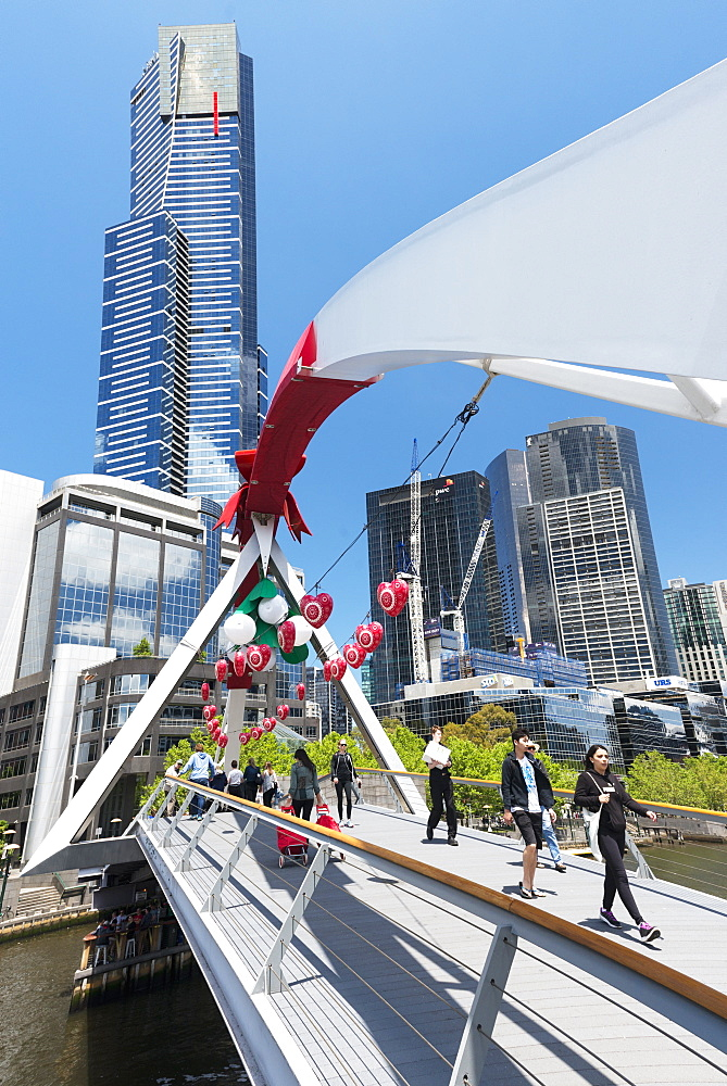 Christmas decorations on Southbank footbridge and Eureka Tower, Melbourne, Victoria, Australia, Pacific - 737-697