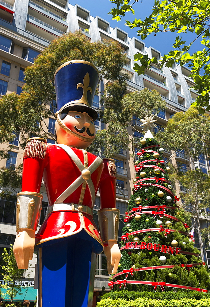 Nutcracker and Christmas Tree, City Square, Melbourne, Victoria, Australia, Pacific - 737-698