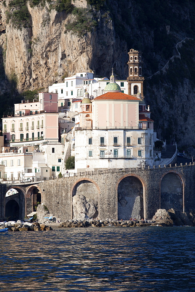 View of Atrani from the sea, Costiera Amalfitana, UNESCO World Heritage Site, Campania, Italy, Mediterranean, Europe  - 739-1283