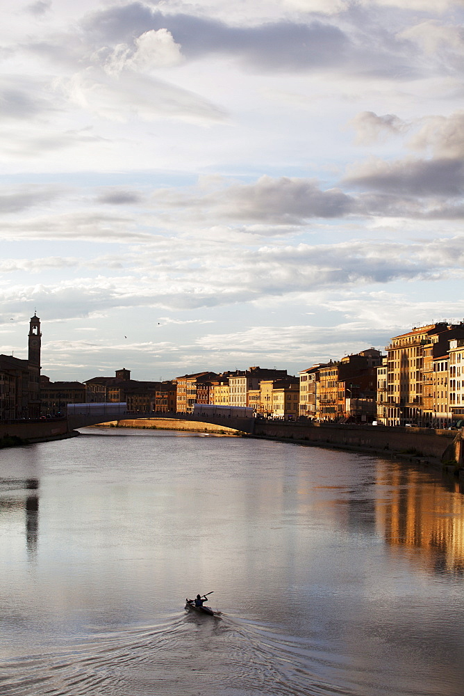 View of the River Arno, Pisa, Tuscany, Italy, Europe