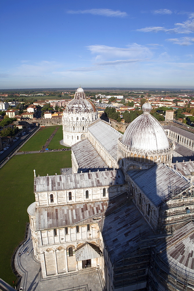 View from the Leaning Tower of Pisa over the Duomo, UNESCO World Heritage Site, Pisa, Tuscany, Italy, Europe